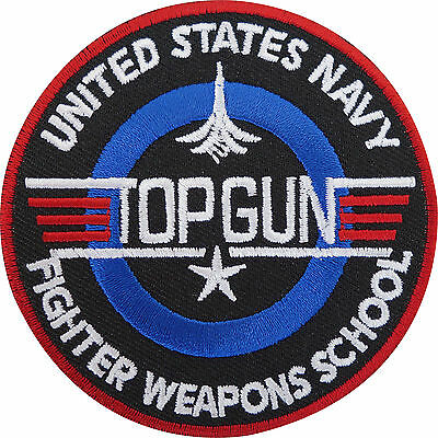 USA Navy TOP GUN Fighter Weapons School Iron On//Sew On EMBROIDERED PATCH n-785