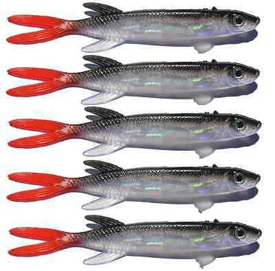 5x 130mm Soft Plastic Fishing Lures MULLET Barra Mulloway Flathead Bass Tackle
