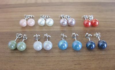 925 Sterling Silver - Shell Pearl Stud Earrings 3 - 6mm - Variety Colours