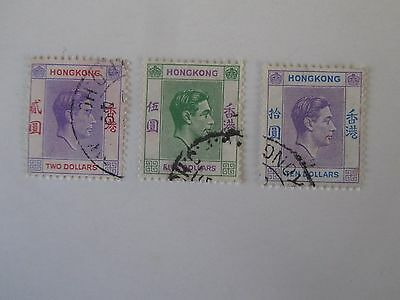 Hong Kong 1946 King George VI Set, high values #164a, 165a & 166a, Used