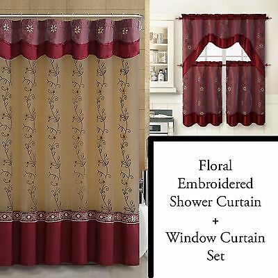 Burgundy Shower Curtain And 3Pc Window Curtain Set