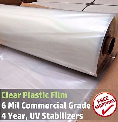 16 ft x 10 ft  Clear Greenhouse Plastic Cover Poly Film, 4 Year 6 mil
