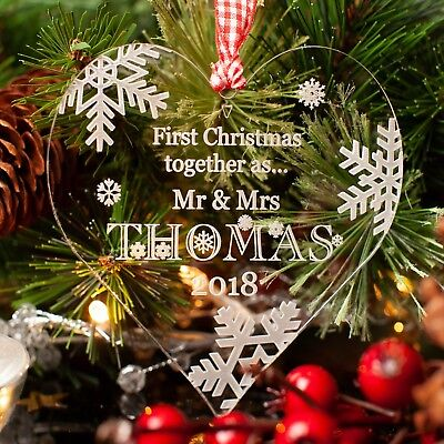 Personalised Christmas Tree Decoration. Our First Christmas Heart Bauble Gift.
