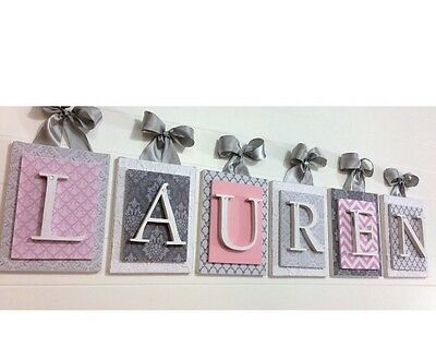 Pink and Gray Nursery,Nursery Letters,Girls Nursery Wall Art,Pink Letter 6x8