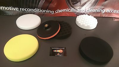 Backing Plate M14 150mm Velcro Cushioned Hook & Loop Buffing Kit X5 PADS!!!
