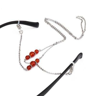 Glasses Sunglasses Spectacles Holder Red Agate Beaded Steel Chain Neck Cord