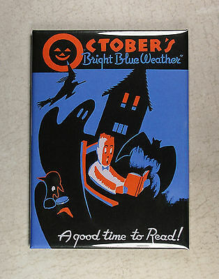 October's Bright Blue Weather Magnet - Spooky Bat Ghost Witch Halloween
