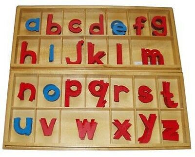 Montessori HOMESCHOOL MOVABLE Red & Blue LARGE Alphabet 2 Wooden Boxes - PRINT