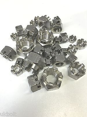 30 pcs M6 M8 M10 M12 M16 stainless Slotted / Castle Nuts x 30 assorted bargain.