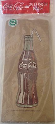 Coca-Cola Coke Bottle Brown Paper Lunch Bags New 1991 Factory Sealed 25 Pac