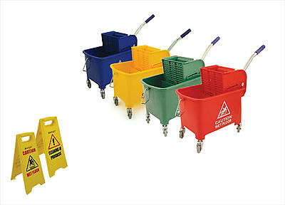Industrial Colour Coded Mop Bucket Kentucky Mopping System Wringer on Wheels