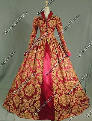 Renaissance Brocade Tudor Queen Elizabeth Prom Dress Gown Theater Clothing 162