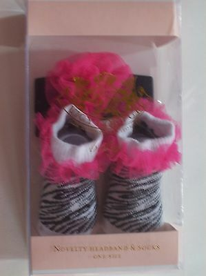Juicy Couture Baby Crib Shoes/Booties/Socks Headwrap Animal Print Zebra NIB