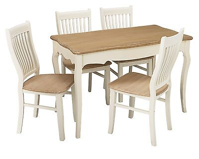 Juliette Shabby Chic Dining Set - Table and 4 Chairs - White and Wood Effect