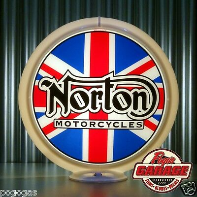 "Norton Motorcycles - 13.5"" Glass Advertising Globe -  Made by Pogo's Garage"
