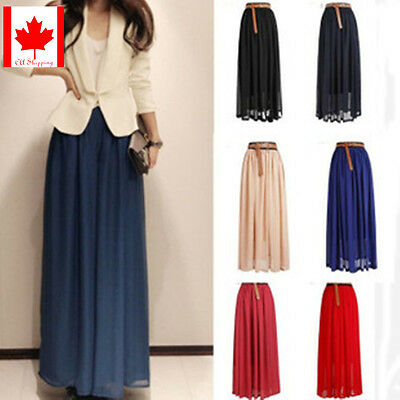 Women's Double Layer Chiffon Pleated Retro Long Maxi Dress Elastic Waist Skirts