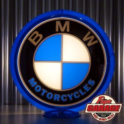 "BMW Motorcycles - 13.5"" Glass Advertising Globe -  Made by Pogo's Garage"
