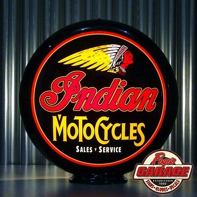 "Indian Motorcycles - 13.5"" Glass Advertising Globe -  Made by Pogo's Garage"