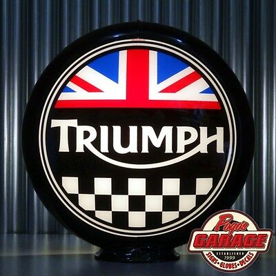 "Triumph Motorcycles - 13.5"" Glass Advertising Globe -  Made by Pogo's Garage"