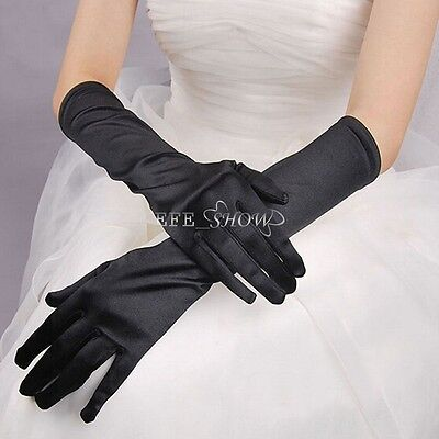 Ladies Long Satin Gloves Opera Costume Bridal Party Prom Wedding Womens Glove