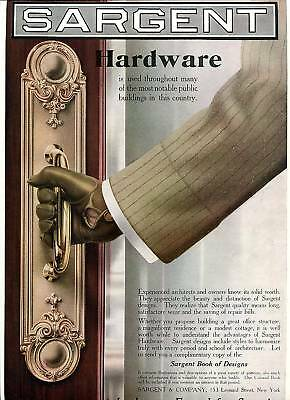 1911 SARGENT HARDWARE Big COLOR Poster Style AD. Brass