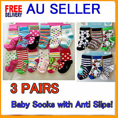 3 Pairs Cute Baby Toddler Socks With Anti Slip Boys and Girls 0 - 24 Month