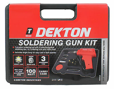 Heavy Duty 100W Soldering Gun Iron & 3 Tips In Storage Case Hobby Crafts Solder