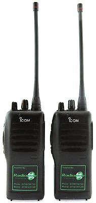 ICOM IC-F12 VHF 5 WATT WALKIE-TALKIE TWO WAY RADIOS & SPEAKER MICS x 2