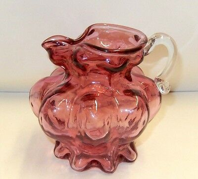 "Vintage Fenton Cranberry Pink Glass 4.25"" Ribbed Ice Lip Pitcher / Jug"