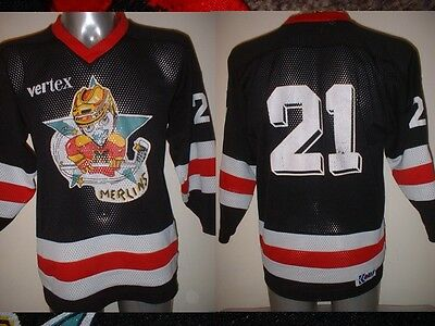 Merlins KOBE 21 Adult Small Ice Hockey Shirt Jersey Vintage NHL Top Black