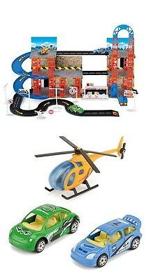 Children City Car Park Play Set Toy With 3 Vehicles - 2 Cars And Helicopter *New