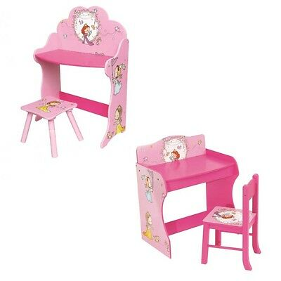 Girls Princess Pink Table & Chair Play Study Wooden Desk Stool Kids