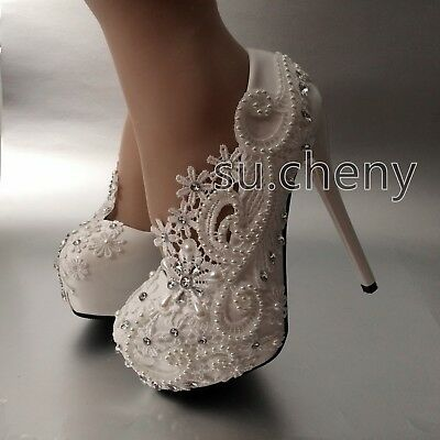 "5.5"" heel white pearl lace flowers platform heels wedding shoes Bridal high size"