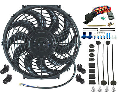 12 Inch Electric Cooling Fan Volt Push In Radiator Fin Probe Thermostat Kit