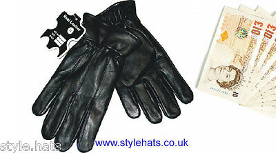 SALE Quality Genuine Leather Gloves Black All Sizes Winter Gloves Under £ Tena