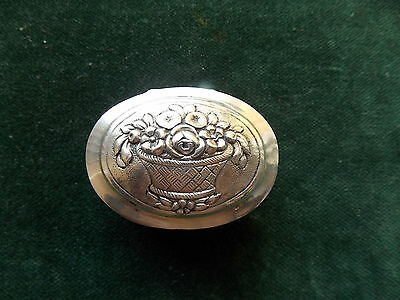 Antique  Sterling 800 silver pill box backet with flower