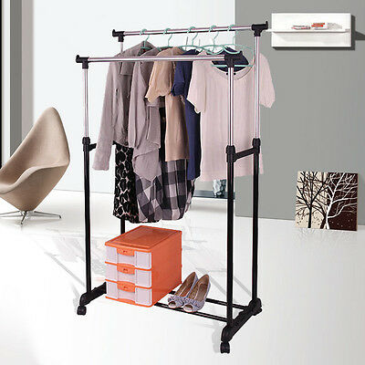 Double Clothes Rail Garment Coat Dress Hanging Display Stand Shoe Rack On Wheels