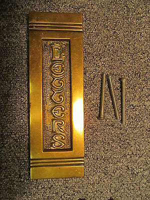 Early  brass letterbox -  fits doors up to 2 inch thick