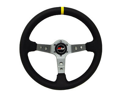 Motamec Rally Steering Wheel Deep Dish 350mm Black Leather Titanium Spoke