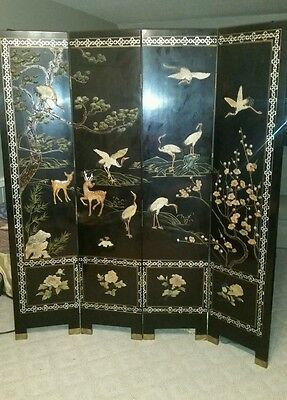 Antique Asian Oriental Palace Coromandel Dressing Clothing Screen Room Divider