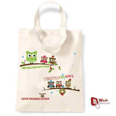 PERSONALISED TEACHER CHRISTMAS COTTON TOTE  GIFT BAG  - ANY NAMES- Cute Owls