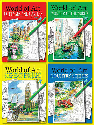 Adult Colouring Books World of Art Hobby Therapy Relaxing A4 Drawing Scenes NEW