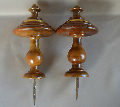Pair of Curtain-Rod Bed Finials - Brass & Walnut Wood - French Home Decor n°2