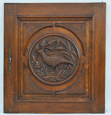 French Antique Carved Oak Wood Architectural Cupboard Door Panel Bird Medallion