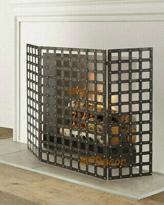 French Tuscan Old World Iron Woven Brass Nail Head Fireplace Fire Screen Gothic