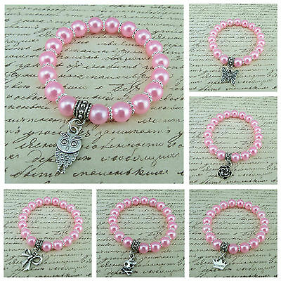 Children 8Mm Baby Pink Acrylic Beads Stretch Bracelets With Various Charms