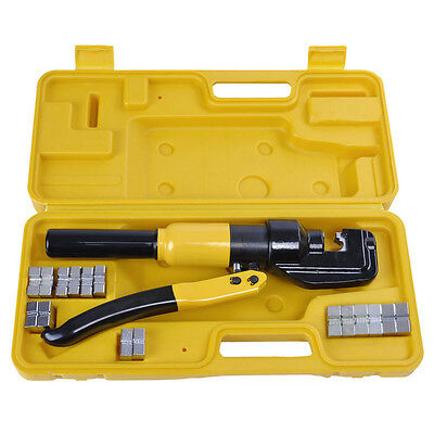 Hydraulic Wire Crimper W/ 8 Ton 9 Dies Battery Cable Lug Terminal Crimping Tool