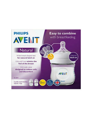 Avent - Natural Clear Feeding Bottle 125ml 0m+ Teat - 2 Pack - Brand New - Baby