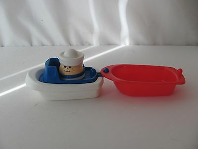 Little Tikes TODDLE TOTS BLUE & WHITE DINGY MOTORBOAT & RARE SAILOR! & RED BOAT