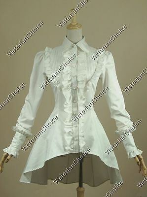 Victorian Lady Gothic White Cotton Blouse Shirt Steampunk Halloween Costume B007